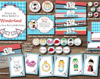 ALICE IN WONDERLAND Party Package - ONEderland Party Package - Mad Hatter Tea Party Party Queen of Hearts Party Pack Printable Turning One