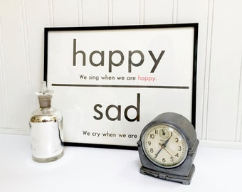 VINTAGE FLASH CARD - Happy Sad Sing - Antonym - Art Print - Room Decor - 11 x 14 - Black White - Industrial - Sign