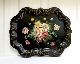 VINTAGE TOLE TRAY - Black Toleware Tray - Huge Metal Floral Hand Painted Cottage Chic - Table size
