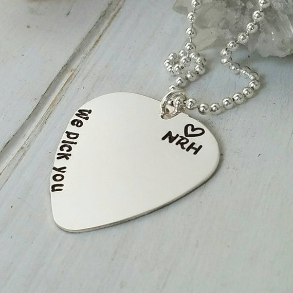 Guitar Pick Necklace, Sterling Silver, Personalized mens necklace, Musician necklace, Custom Father necklace, Name plate, Fathers Day gift