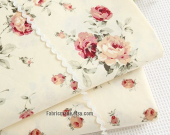 Lovely Floral Cotton Fabric, Yellow Pink Rose Floral On Light Yellow Cotton, Shabby Chic Flower- 1/2 Yard