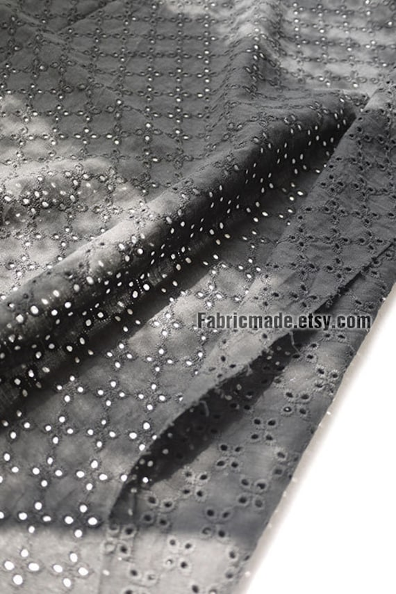 Off White Black Embroidered Fabric, Cream Eyelet Fabric, Hollowed Floral Petal, Lace Fabric, Curtain Fabric - One Yard