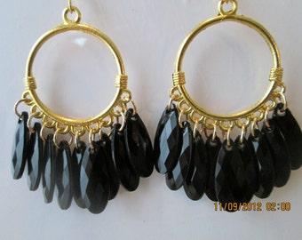 Gold Tone Hoop Earrings with Black Bead Dangles