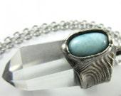 atlantis - larimar & quartz crystal point pendant - crystal necklace