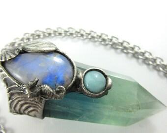 the siren - moonstone, larimar and aquatic blue fluorite crystal pendant