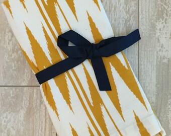 Gold Ikat Napkin Set - Monogrammed Napkins - Personalized Napkins - Cloth Napkins - Hostess Gift - Bridesmaid Gift - Birthday Gift
