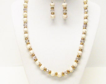 Round White/Gold Bead Necklace & Earrings Set