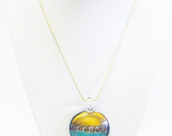 Multiple Colors Round Fused Glass Pendant Necklace