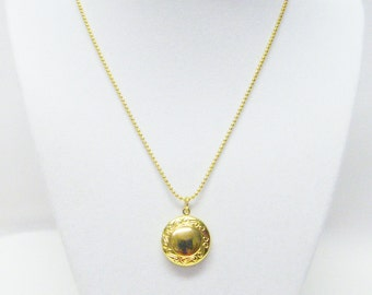 Small Gold Plated 20mm x 24mm w/Ornate Round Lockets Necklace for Child