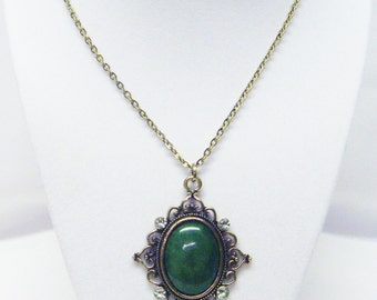 Gold Plated Pendant w/Green Cabochon & Crystal Necklace
