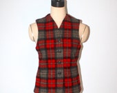 Vintage Wool Plaid Vest . Eddie Bauer Red Gray Plaid Warm Winter Sweater Vest . Size Small