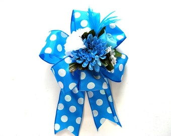Blue and white gift bow/ Father's Day gift bow/ Floral gift bow/ Gift wrap bow for males/ Bow for presents/ Large gift bow  (FD21)