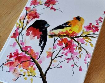 Handpainted Blank Notebook Journal Goldfinch On Branch Notepad OOAK Cute Notebook Birds with Pink Flowers
