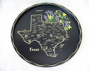 Vintage Texas Tray.Texas Black Metal Round Tray.State of Texas Map.Texas Bluebonnets.Retro Home Decor.Texas Home Decor.Texas History.Maps.