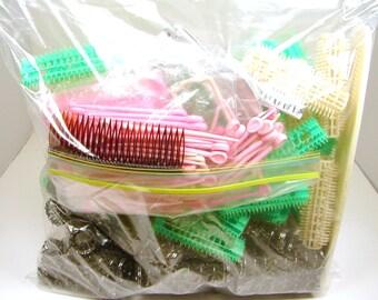 Vintage Curler Lot, Curlers, Hair Pins, Hair clips, Combs, Brush Curlers, Metal Curlers, Plastic Curlers, Curly Hair