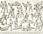 1922 Vintage Jiu Jitsu poster Combat sport print Judo poster French wall hanging dictionary page Dojo decor sports art Vintage sports poster
