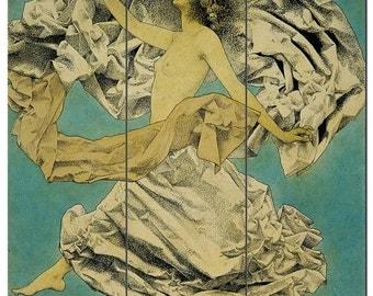 Art Deco print on canvas, Vintage fashion illustration, Figure 1897,Large wall art, Large gallery wrap, Art deco art