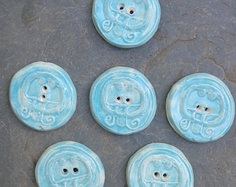 6 Ceramic Buttons Mayan Pottery Turquoise Caban Stone Sewing Knitting Notions Supplies