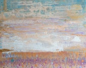 Purple Gold Sunset Colors Abstract Art Painting Gift Hand Painted Wood Panel by Jennifer Barrineau titled After the Storm
