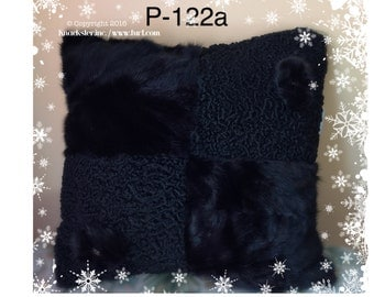 P-122 Genuine Black Mink & Persian Lamb Fur Pillow 16.5 x 16.5