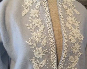 White Beaded Blue 50s Cardigan Sweater