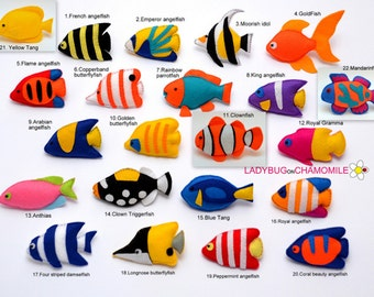 FISHES felt magnets, Coral fishes, Fish magnet, Dish toy,Fish ornament, Tang,Butterflyfish,Clownfish,Angelfish,Triggerfish,Cute fish