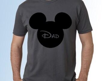 Mickey Mouse Head/Ears * Dad * Dark Gray Cotton Crew Neck Short Sleeve Shirt * Disneyland/Disney World * Family Vacation Shirt