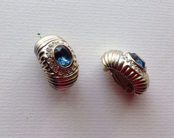 Vintage  Large Clips on Earrings/ Sapphire Color and Clear Rhinestones /80s