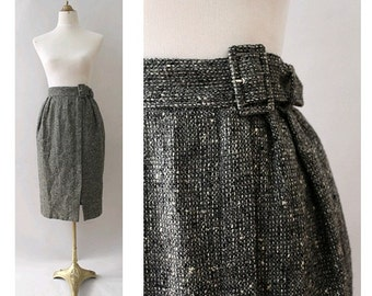 1980  Pencil Skirt Tweed Charcoal wool highwaisted small