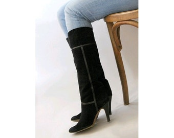 1980 black suede Boots / slouch heels euro 38