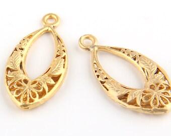 Floral Filigree Earring Pendants, Filigree Pendants, Gold Plated, 2 pieces // GP-379