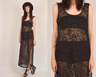 Sheer Black Leaf Print Maxi Dress