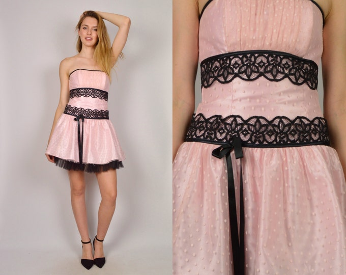 Vintage Gunne Sax Strapless Pink Party Dress Cocktail Dress