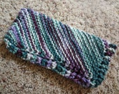 """Hand Knit Dish Cloth - Mix-N-Match - Cotton - Medium 8"""" Square - Variegated Purples and Greens"""