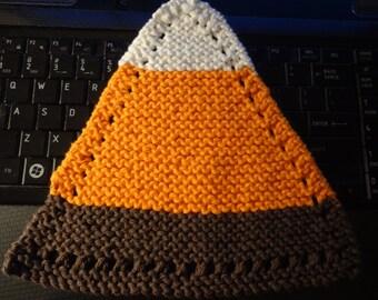 "Hand Knit Dish Cloth - Mix-N-Match - Cotton - Medium 8"" Triangle - Candy Corn Dish Cloth - White, Orange, Brown"