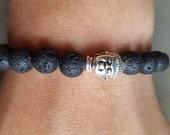 Men's Bracelet, Men's Jewelry, Men's bohemian jewelry, Lava bracelet, Buddha bracelet, Mala beads, Black  bracelet