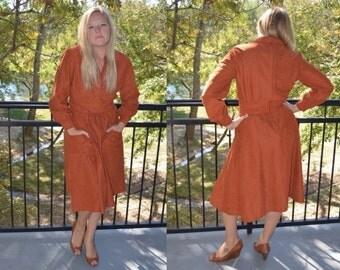 Vintage Dress, Size 14, Burnt Orange Dress, Vintage 70's Polyester Long Sleeved Dress, Women's Orange Dress