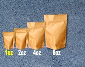 100 - 1 oz. Kraft Stand Up Pouch Bags, Food Safe Resealable Bags, Food Packaging, Tea Paper Bags, Coffee Favor Bags, Foil Product Packaging