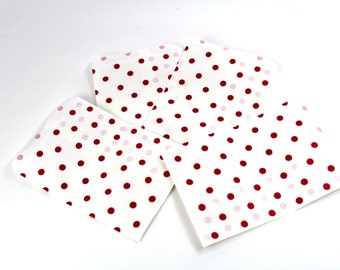 50 5x7 Red Polka Dot Paper Gift bags, Merchandise Bags, Gift Bags 5x7 inch Bags, Wedding Favor Party Bags, Pink and White Bulk Discount Bags