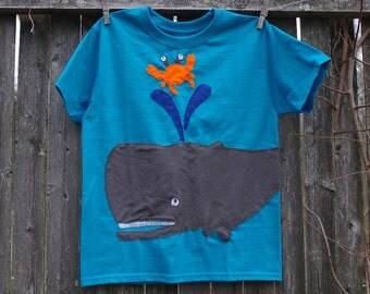 Big Whale Deep Sea Creature Kids T shirt Ocean Friends