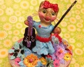 Violin Cat Sculpture ~ Keepsake, Jewelry, Trinket Box ~ Customizable & Handmade to Order ~ Kitty Cat ~ Flowers ~ SOLD