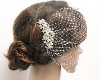 Wedding hair accessoires,Bridal bird cage veil,Wedding hair piece,Wedding fascinators,Bridal birdcage veil,Wedding veil,Bridal heapdiece