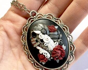 Vodoo Zombie Necklace Hand Painted Zombie Cameo Silver Gypsy Necklace Goth Necklace Scary Necklace Jewelry Psychobilly Jewelry Rockabilly