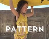 The original FRINGEKINI Crochet Pattern - 3 sizes (infant, toddler & child) signature Hadley Paige Designs Top Pattern.  Boho. Swimwear.