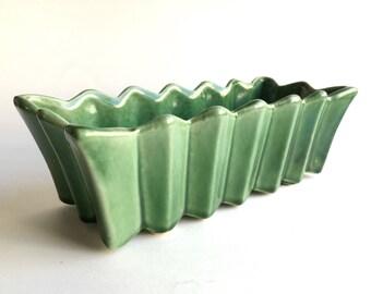 vintage McCoy pottery planter. green ceramic centerpiece dish. retro home decor.
