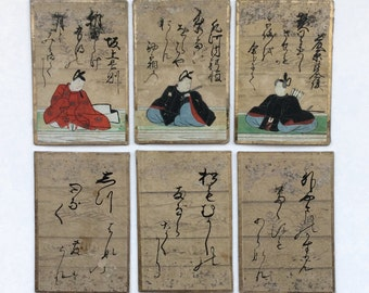 6 Antique Japanese Karuta Playing Cards, Handpainted