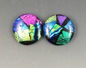 Multi-color Large Dichroic Glass Cabochon Pair