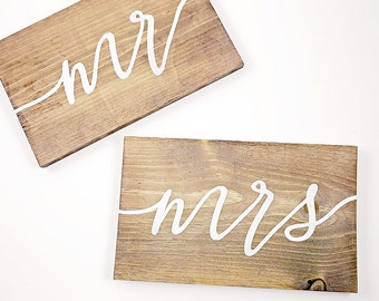 Wood wedding sign Mr and Mrs with white calligraphy script for rustic outdoor barn wedding decor, photoshoot white calligraphy