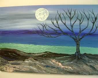 Moonlight Indigo - Original Abstract Acrylic Painting Canvas Landscape - 24 x 36