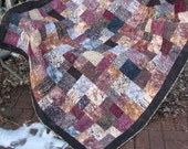 Lap Quilt, Sofa Quilt, Quilted Throw - Hearth and Home Batik Quilt